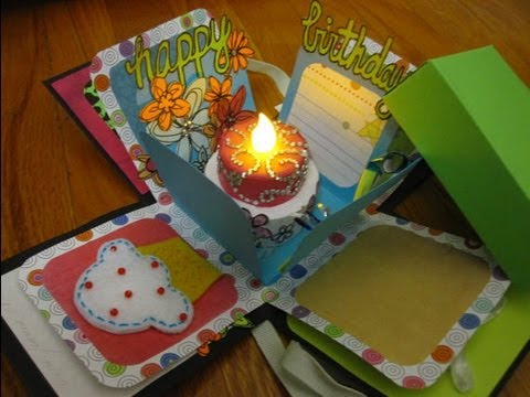 Box Scrapbook Happy Birthday Explosion Box YouTube – Birthday Cards in a Box