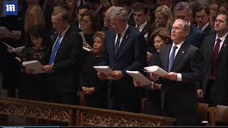 Trump Slammed For Remaining Silent While Obama And Hillary Recited Prayer At Bush Funeral!