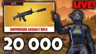 20 000 Feliratkozó!! Új TOMPÍTOTT SCAR! (Rövid Live) Fortnite Battle Royale!