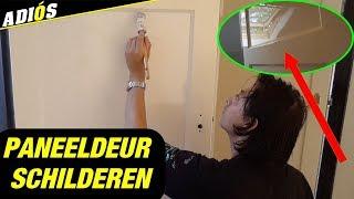 DEUR SCHILDEREN, paneeldeur schilderen met een roller en kwast / painting a door with a roller