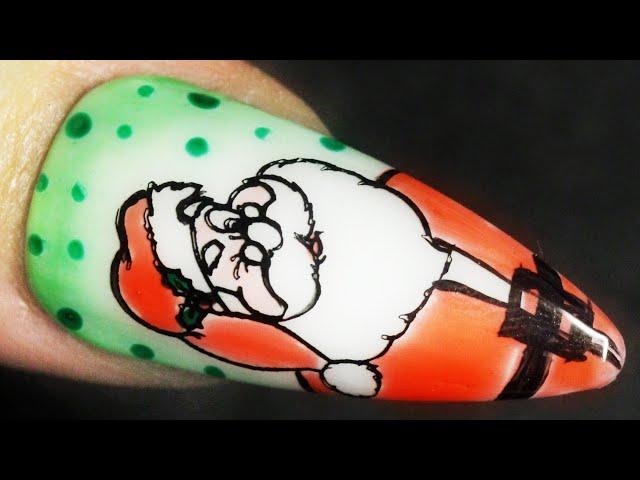 Santa Claus Christmas Nail Design For Winter Holiday Stamping Nail Art