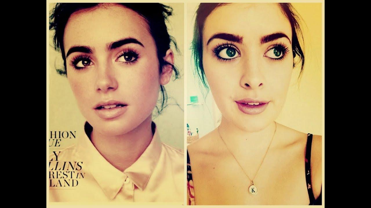 Lily Collins Inspired Makeup  HelloKatyxo YouTube
