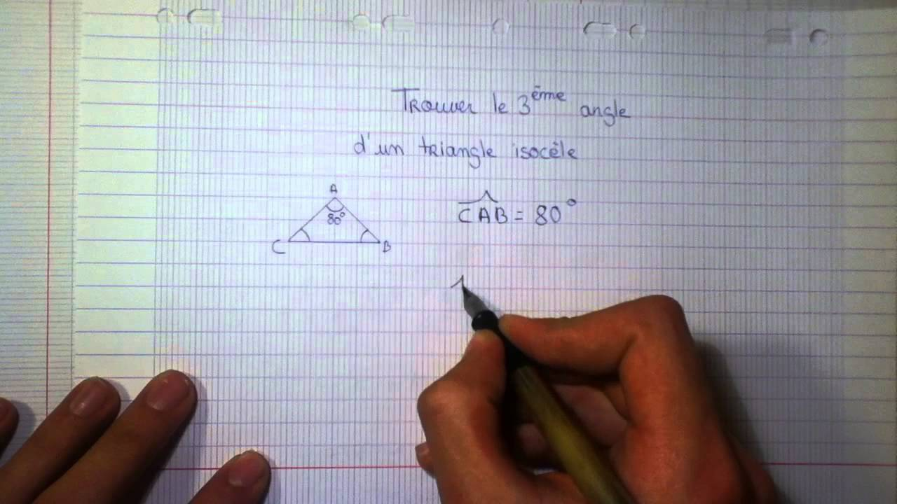 calculer un angle r gle triangle isoc le youtube. Black Bedroom Furniture Sets. Home Design Ideas