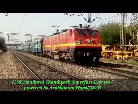 22687//Madurai chandigarh superfast Express//powered by Arakkonam wap4//22025