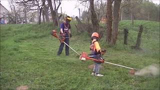 FŰKASZA ARÉNA: Zsenge tavaszi fű vágás, vakondtúrásborotválással.  Husqvarna BrushCutter mowing work