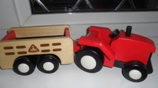Elc Early Learning Centre Wood Farm Tractor And Trailer