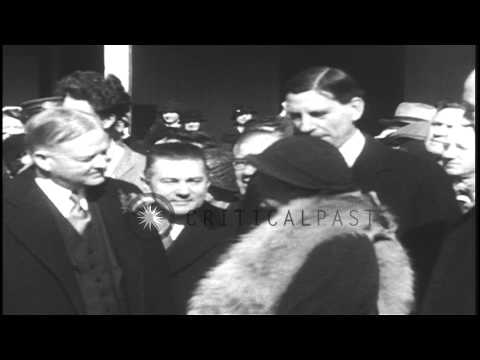 People gather to greet former US President Herbert Clark Hoover as he arrives in ...HD Stock Footage