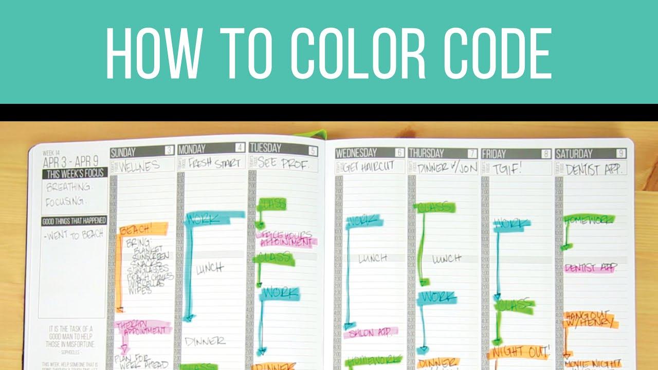 Planner hacks color coding youtube for Color coding planner