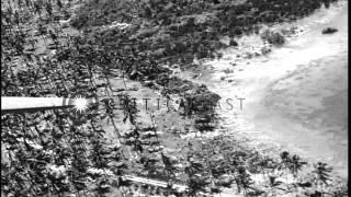 Aerial view of airstrip at Kolombangara, Rendova, Solomon Islands. HD Stock Footage