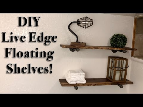 DIY live edge slab shelves