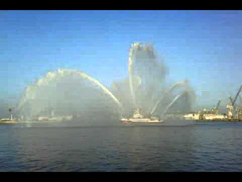 Los Angeles City Fireboat 2 Giving a Water Display