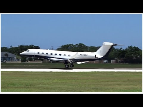 Various Private Jets Landing and Departing at Owen Roberts International Airport-Grand Cayman
