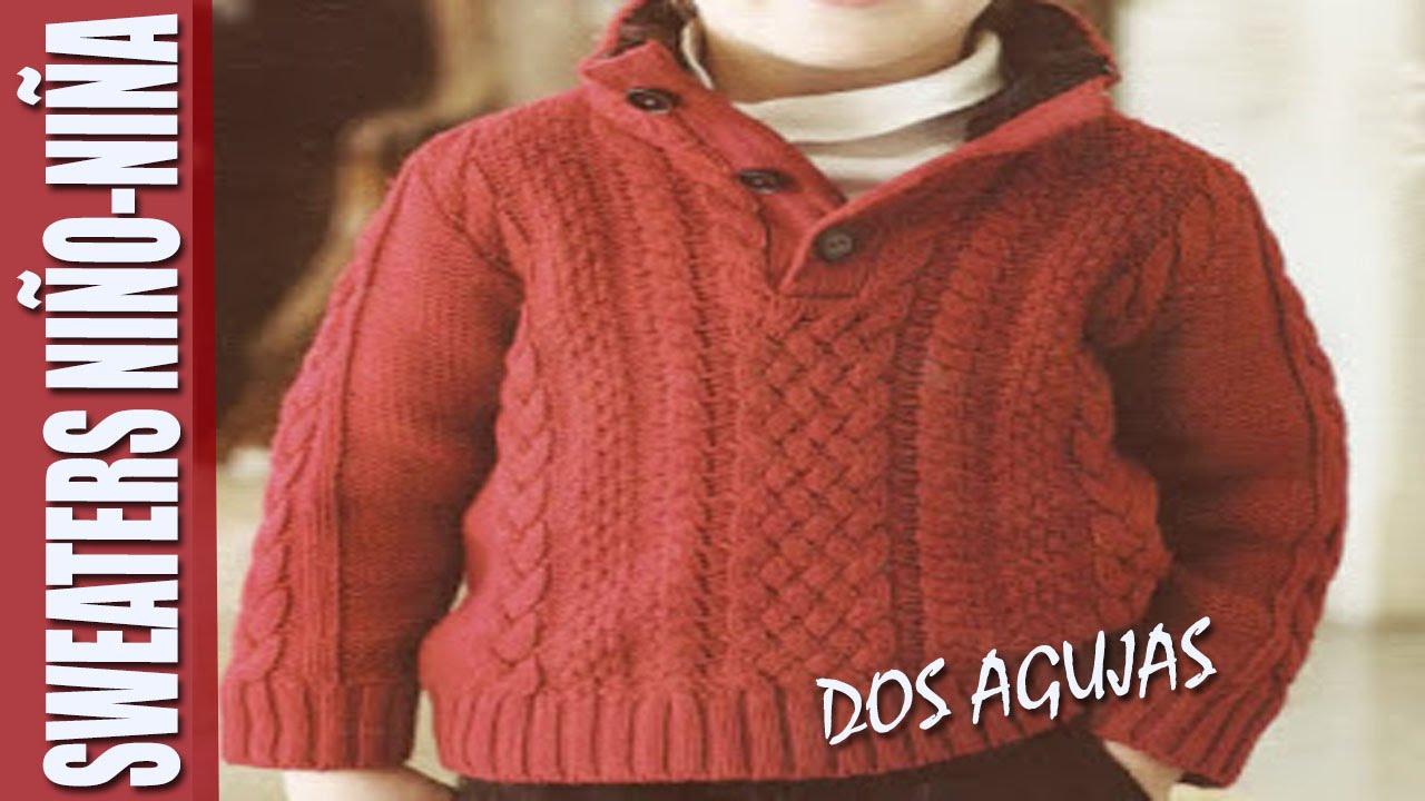 Sweaters para NIÑO-NIÑA en dos agujas - YouTube