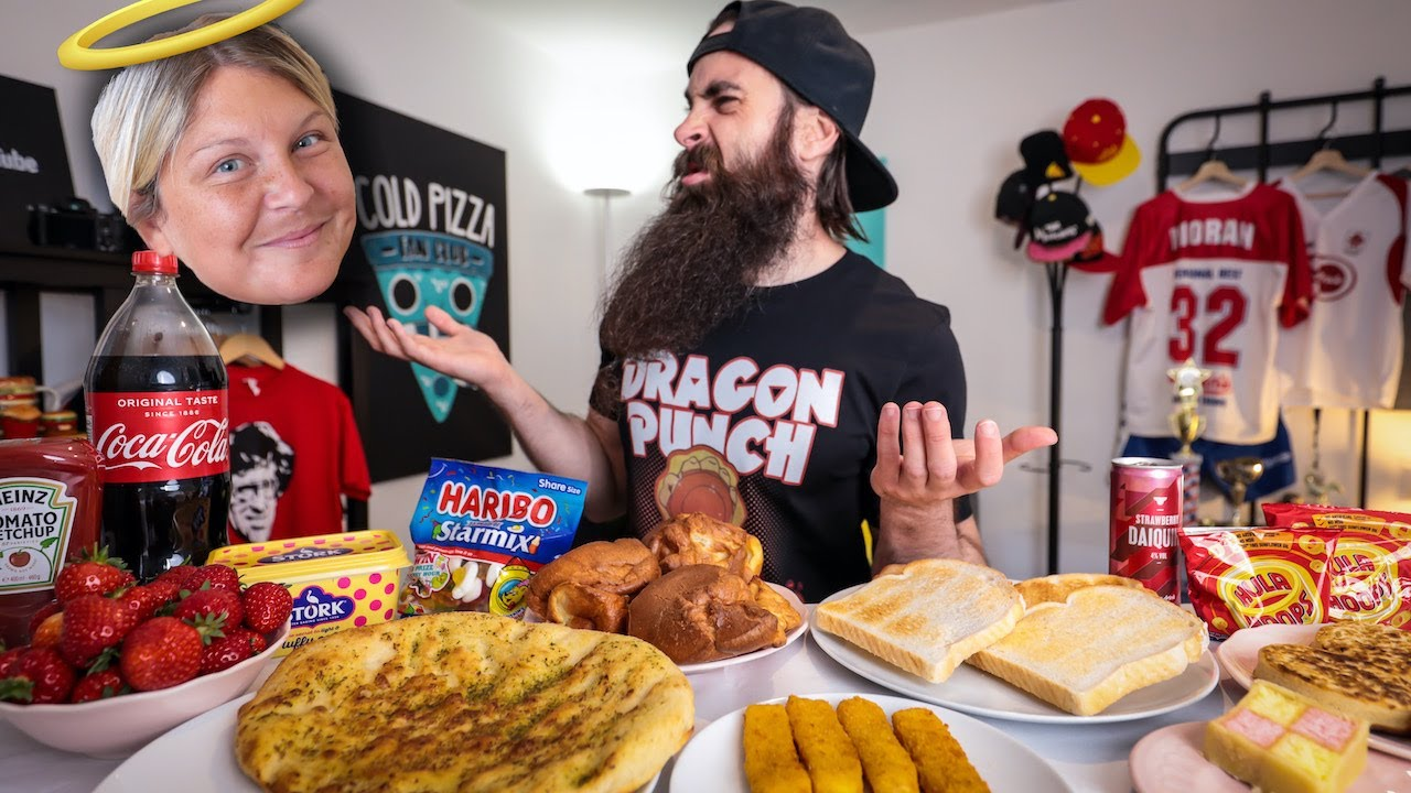 EATING MY FIANCEE'S RIDICULOUS DAILY DIET IN ONE SITTING | BeardMeatsFood