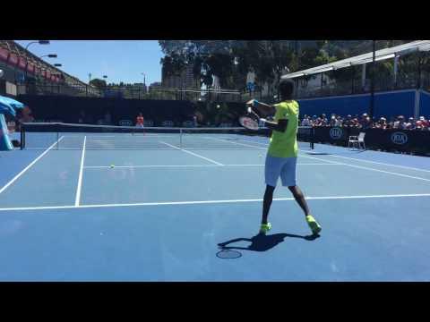 Gael Monfils Australian Open 2017 Court level Practice
