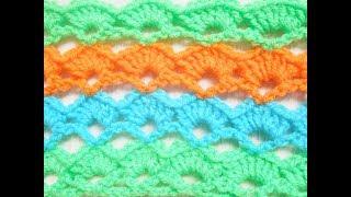 Простой Узор веерочки крючком. Вязание крючком. Crochet.