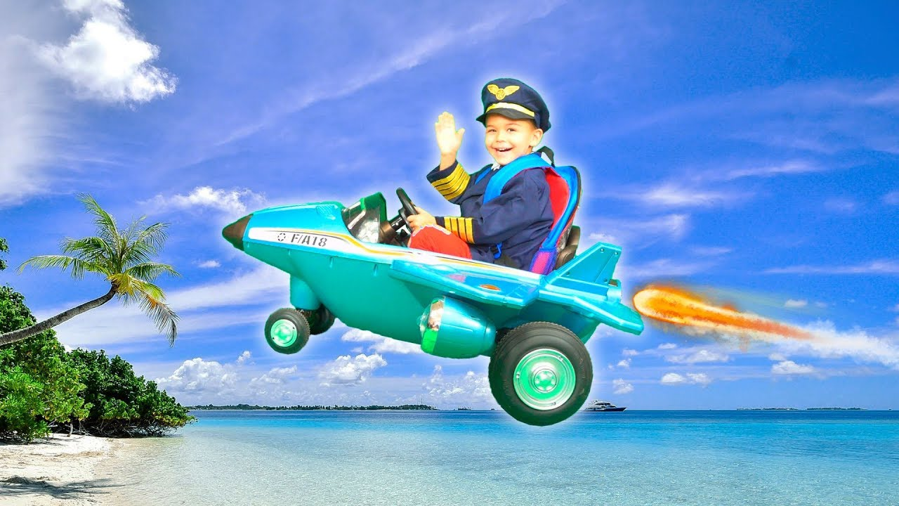 Dima goes on a trip on his power wheels plane