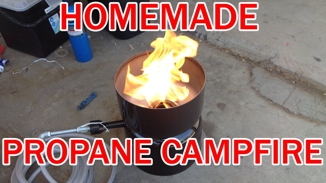 make your own propane campfire cheap! diy homemade lp gas fire pit