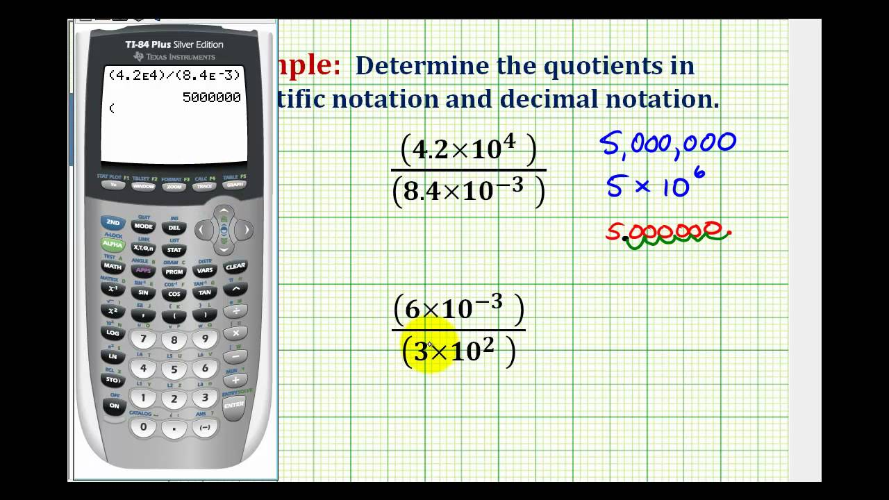 Example divide numbers in scientific notation on the ti84 youtube example divide numbers in scientific notation on the ti84 falaconquin