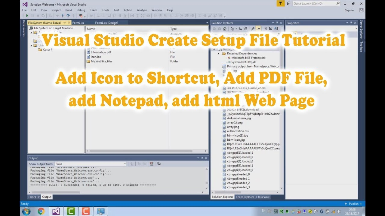Visual Studio C# Create Setup File tutorial 2 Add an Icon,PDF  File,Notepad,and Html Page