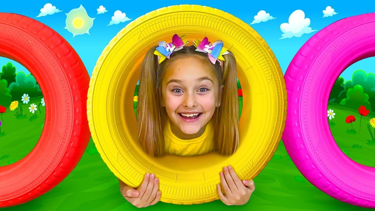 Sasha plays with Colored wheels and Active Games for Children