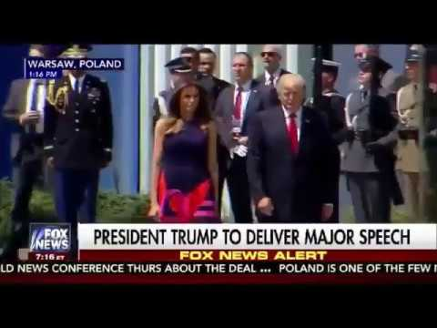 wow! Crowd in Poland starts chanting USA! USA! as President Trump and Melania attend event