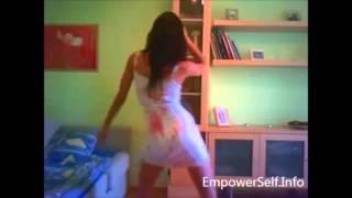 Sexy Spanish girl dances in her bedroom