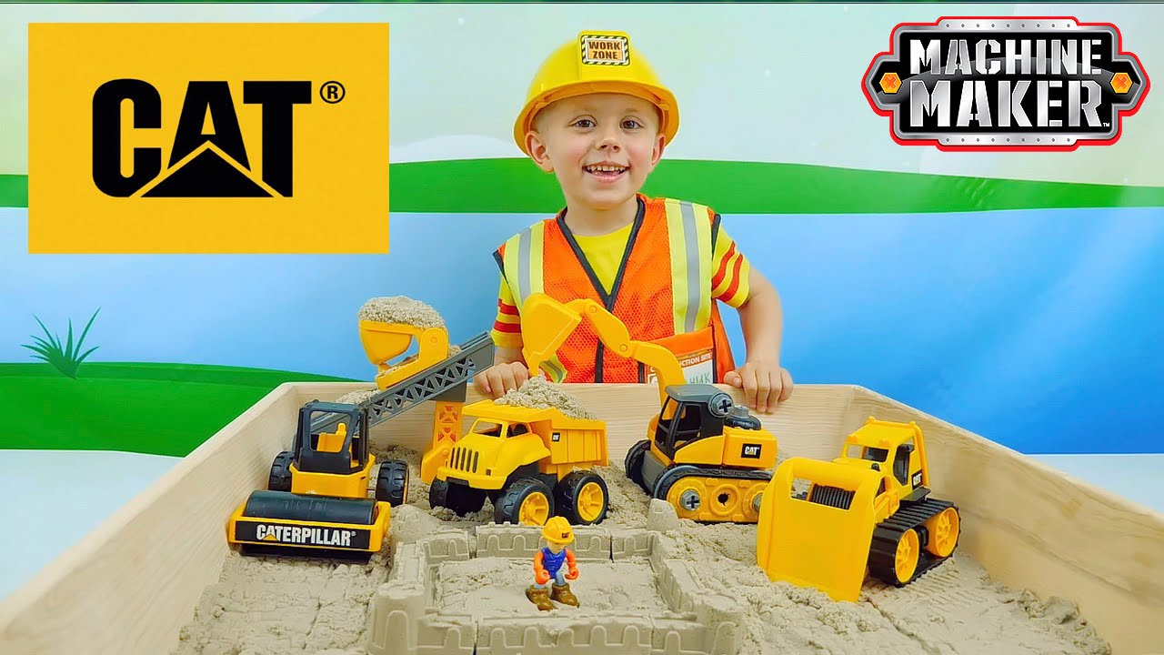 Экскаватор конструктор CAT и кинетический песок для детей - Caterpillar Machine Maker Kids Operator