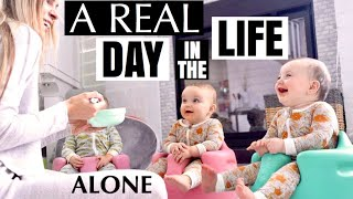 Mom's REAL day in the life with triplets all alone | The TRUTH of my life