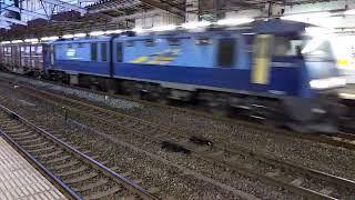【JR貨物EH200形電気機関車、ブルーサンダー 、】貨物列車通過シーン