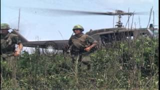 Soldiers landing at Camp Evans from UH-1D helicopter at South Vietnam. HD Stock Footage