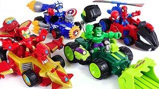 Run Marvel Mashers micro Hulk Spier Man Iron Man Captain America super cars - DuDuPopTOY