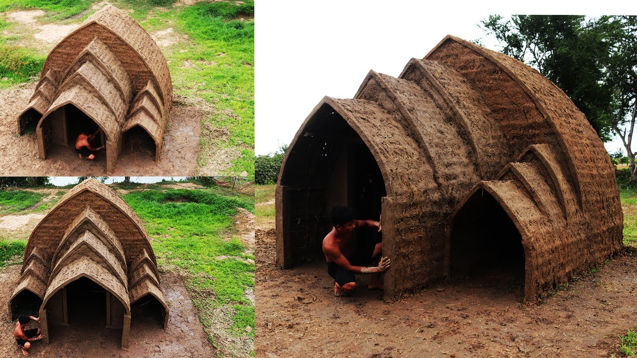 Build Amazing Beautiful Mud House In The Forest