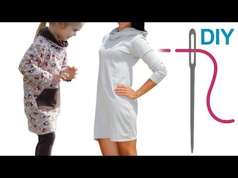 DIY Kleid mit Schalkragen oder Kapuze für Anfänger – Zierstoff ...