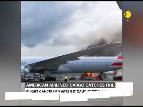 American Airlines' cargo catches fire