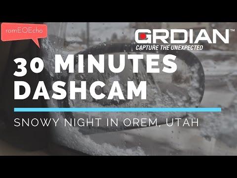 Driving on a snowy night in Orem, Utah