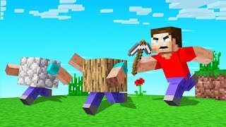 MINECRAFT But Blocks RUN AWAY When You MINE!
