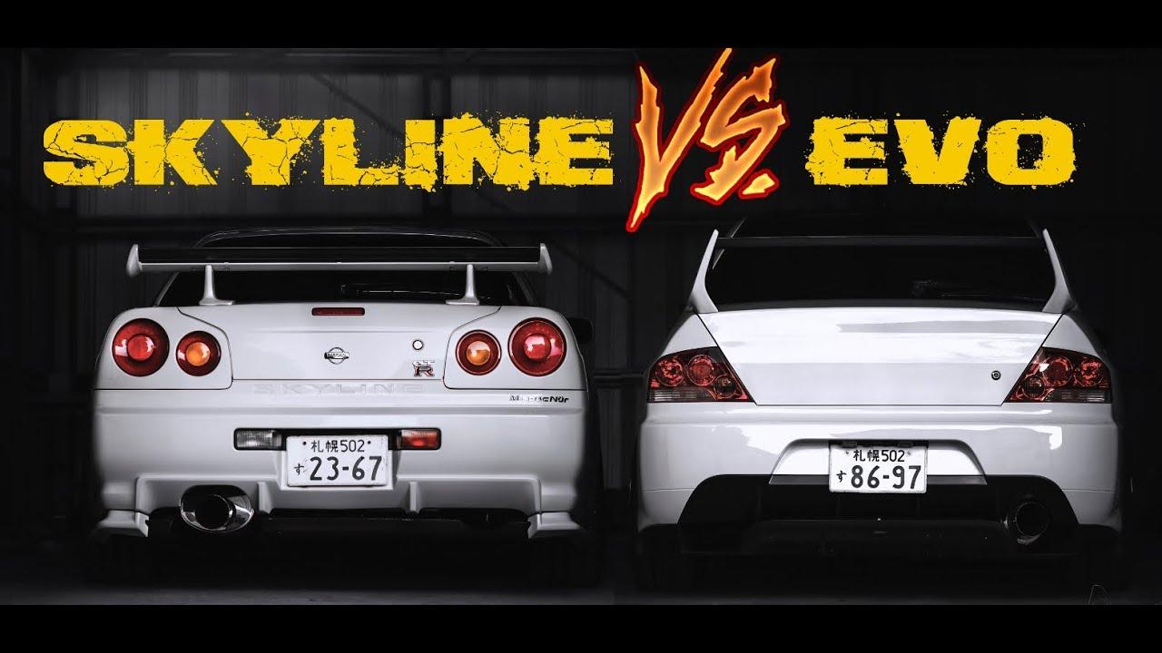SKYLINE R34 VS EVO(7 8 9)  ||  Versus Series. Which Is Faster???
