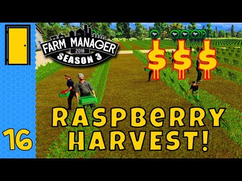 RASPBERRY HARVEST! $$$! in Farm Manager 2018! - Season 3 Part 16 - Let's Play Farm Manager 2018