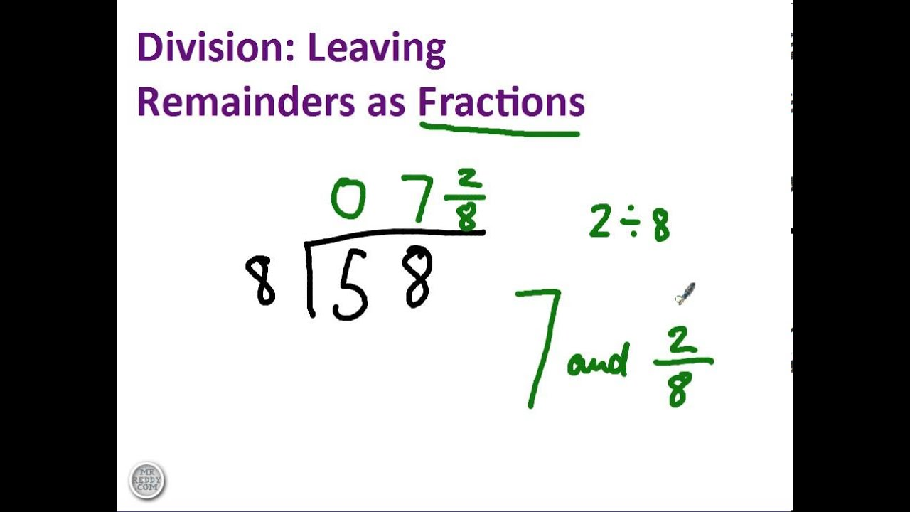 small resolution of Division with remainders as fractions - YouTube