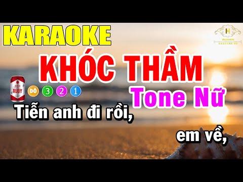 Khóc Thầm Karaoke Tone Nữ Nhạc Sống | Trọng Hiếu