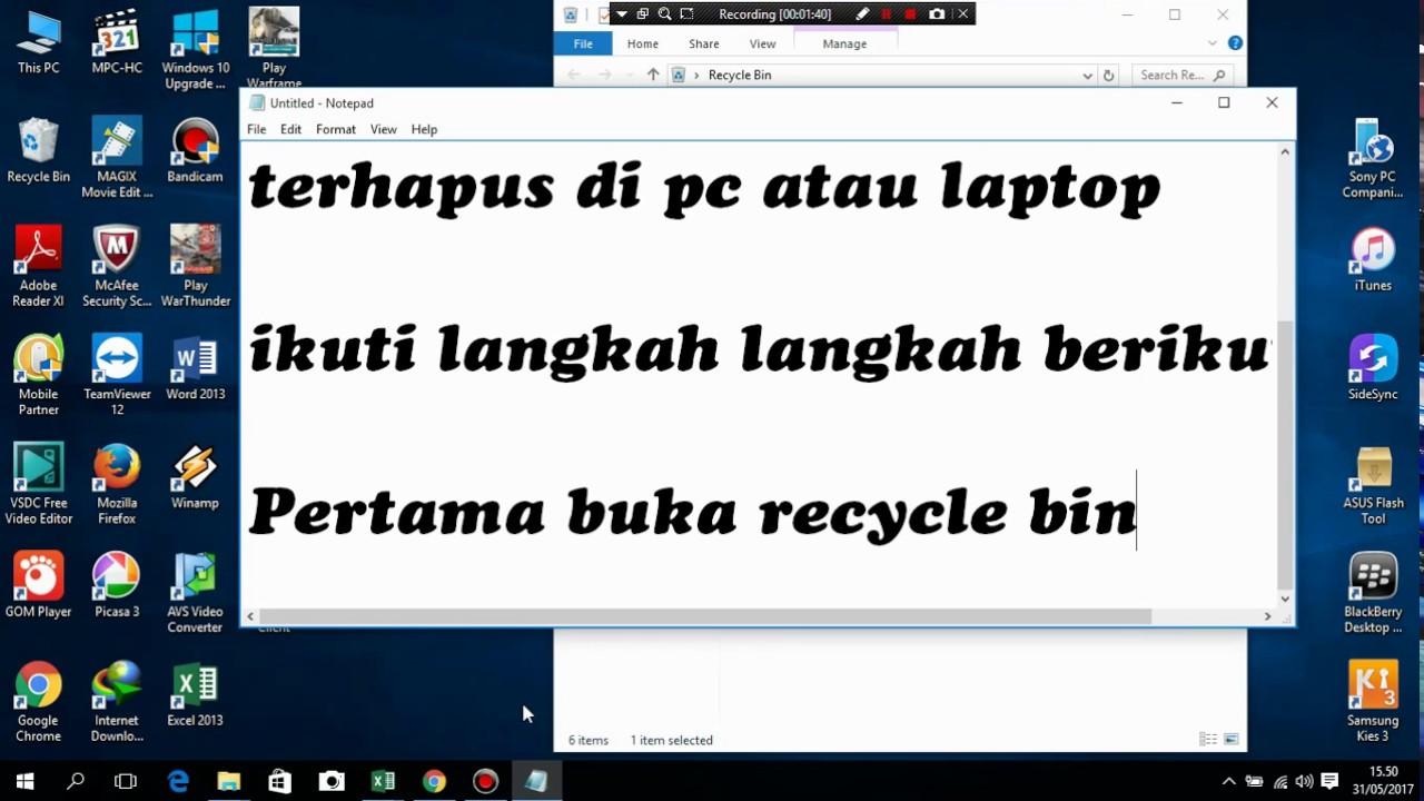 Cara Mengembalikan File Yang Telah Terhapus Dengan Recycle Bin Youtube