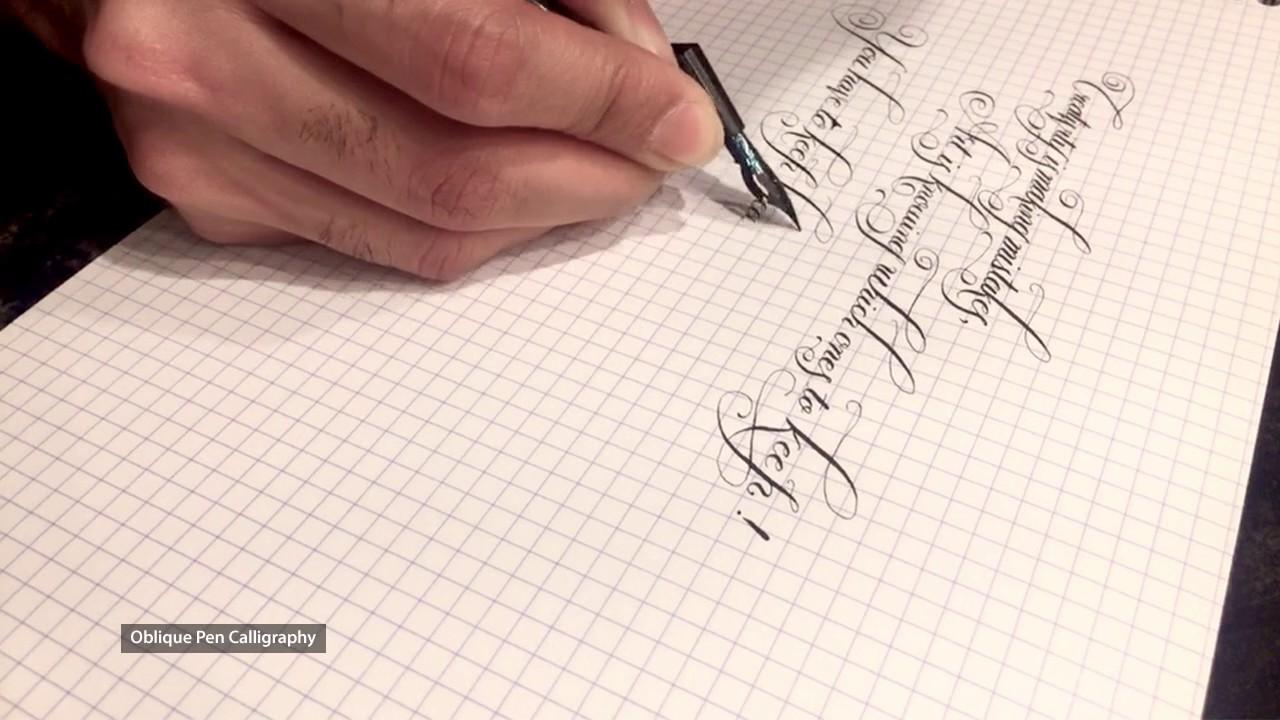 oblique pen  Oblique Pen Calligraphy - YouTube