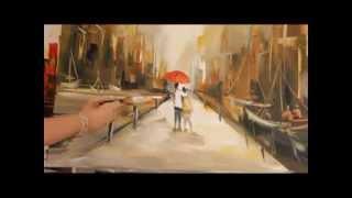 Repeat youtube video Gabriela Mensaque Pintando Caminantes sobre la lluvia