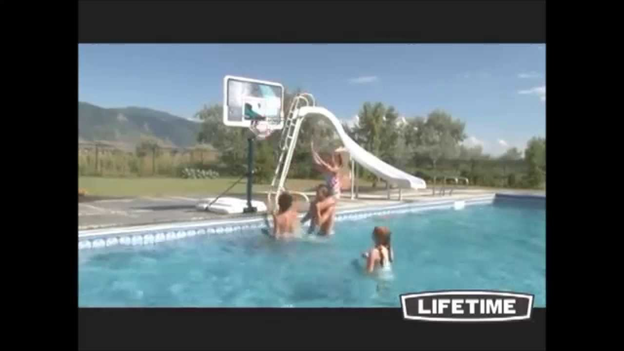 Swimming pool basketball hoop 1301 with movable base youtube - Basketball goal for swimming pool ...