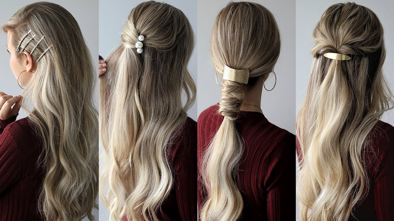 HOW TO: EASY Hairstyles with HAIR CLIPS 🌹 Medium Hair Hairstyles - YouTube