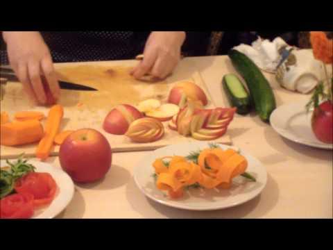Нарезка овощей и фруктов по технологии карвинг. Украшение новогоднего стола