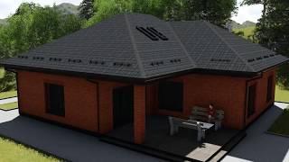 Проект одноэтажного дома Стоун C-007 с тремя спальнями и террасой