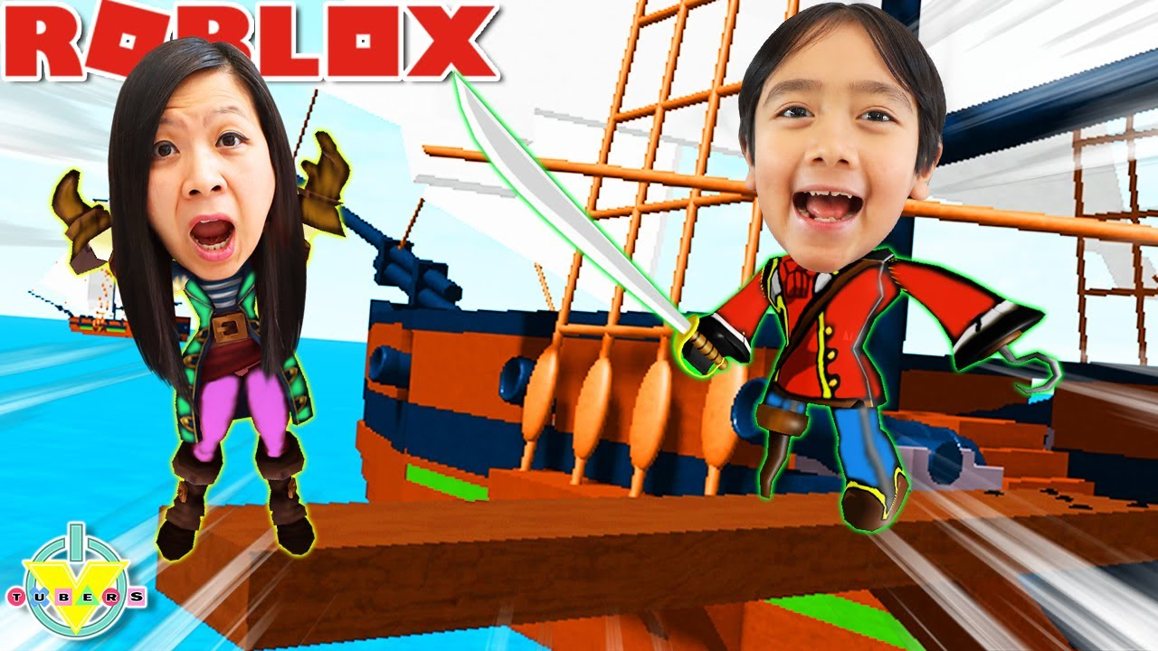 Ryan is a PIRATE in ROBLOX! Let's Play Roblox Pilfering Pirates with Ryan's Mommy!