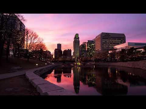 Omaha holiday lights sunset